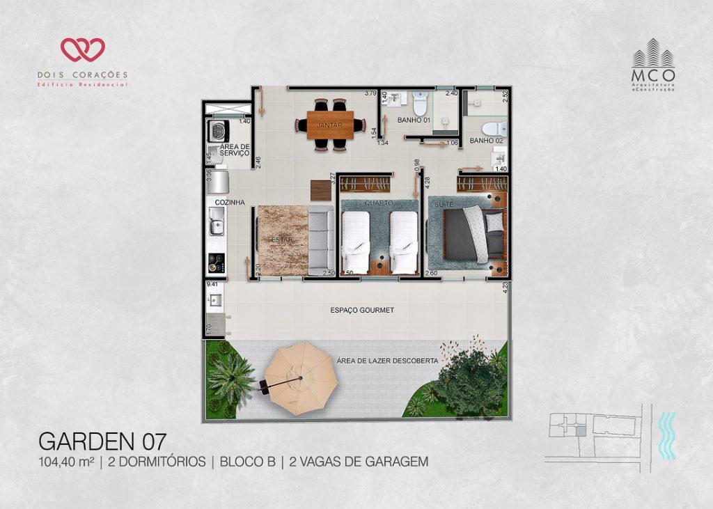 Modelo Garden 07 - Lancamento Dois Corações em Ubatuba apresentado pela Imobiliaria Villa Tenorio