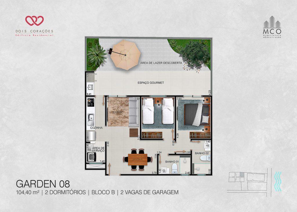 Modelo Garden 08 - Lancamento Dois Corações em Ubatuba apresentado pela Imobiliaria Villa Tenorio