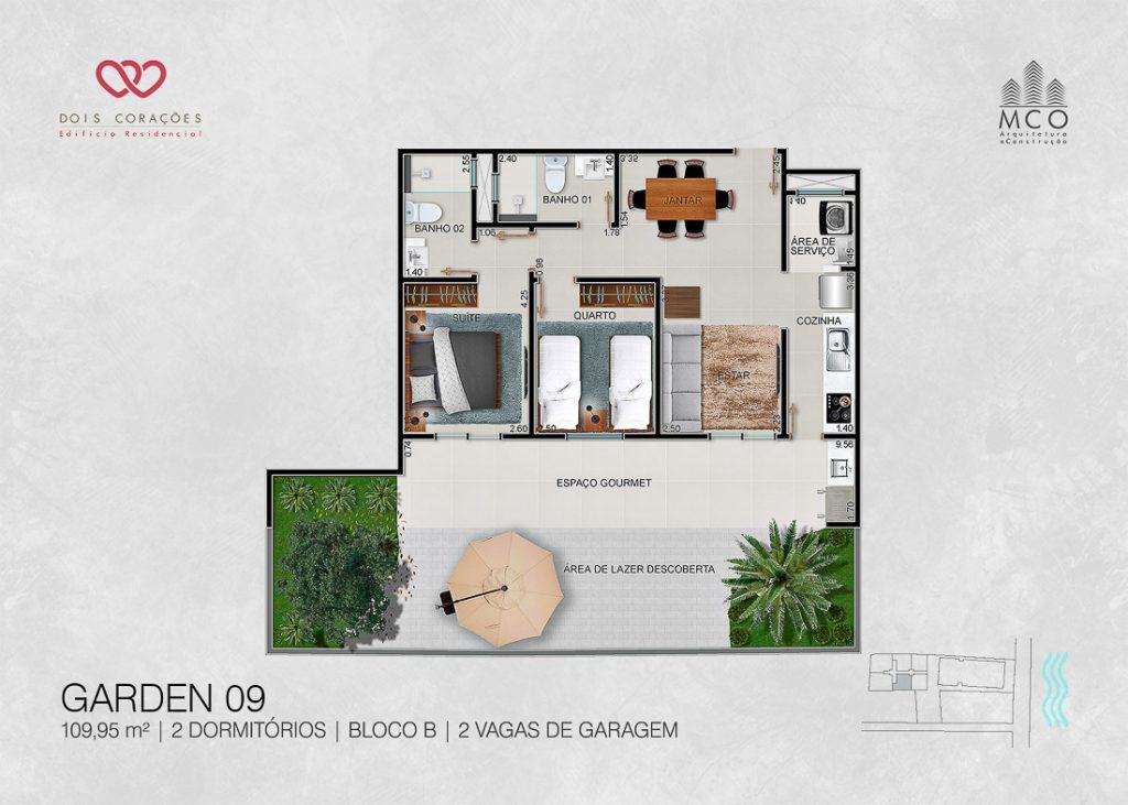 Modelo Garden 09 - Lancamento Dois Corações em Ubatuba apresentado pela Imobiliaria Villa Tenorio