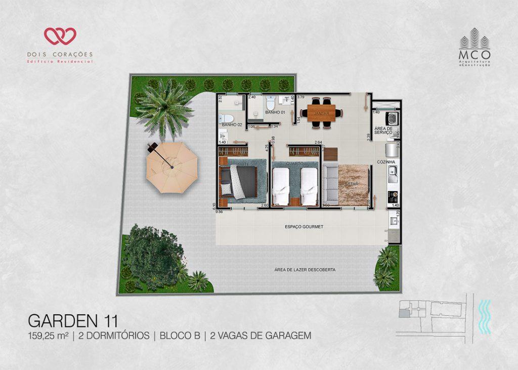 Modelo Garden 10 - Lancamento Dois Corações em Ubatuba apresentado pela Imobiliaria Villa Tenorio