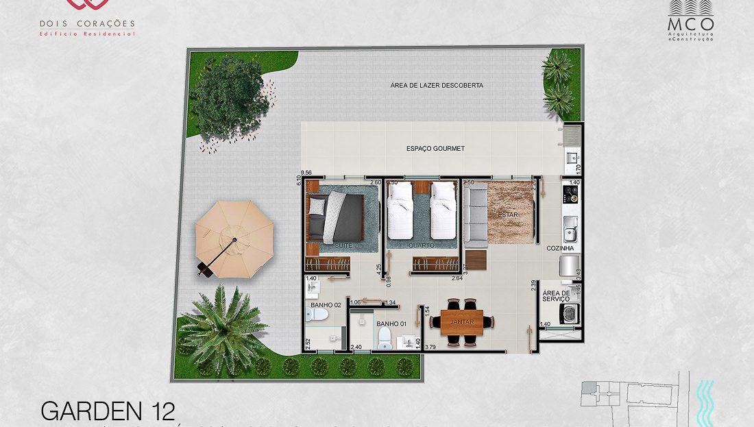 Modelo Garden 12 - Lancamento Dois Corações em Ubatuba apresentado pela Imobiliaria Villa Tenorio