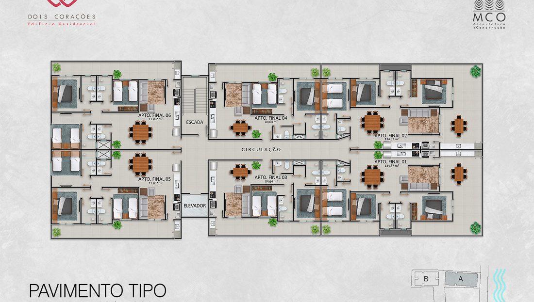 Localizacao dos apartamentos - Bloco B - Lancamento Dois Corações em Ubatuba apresentado pela Imobiliaria Villa Tenorio