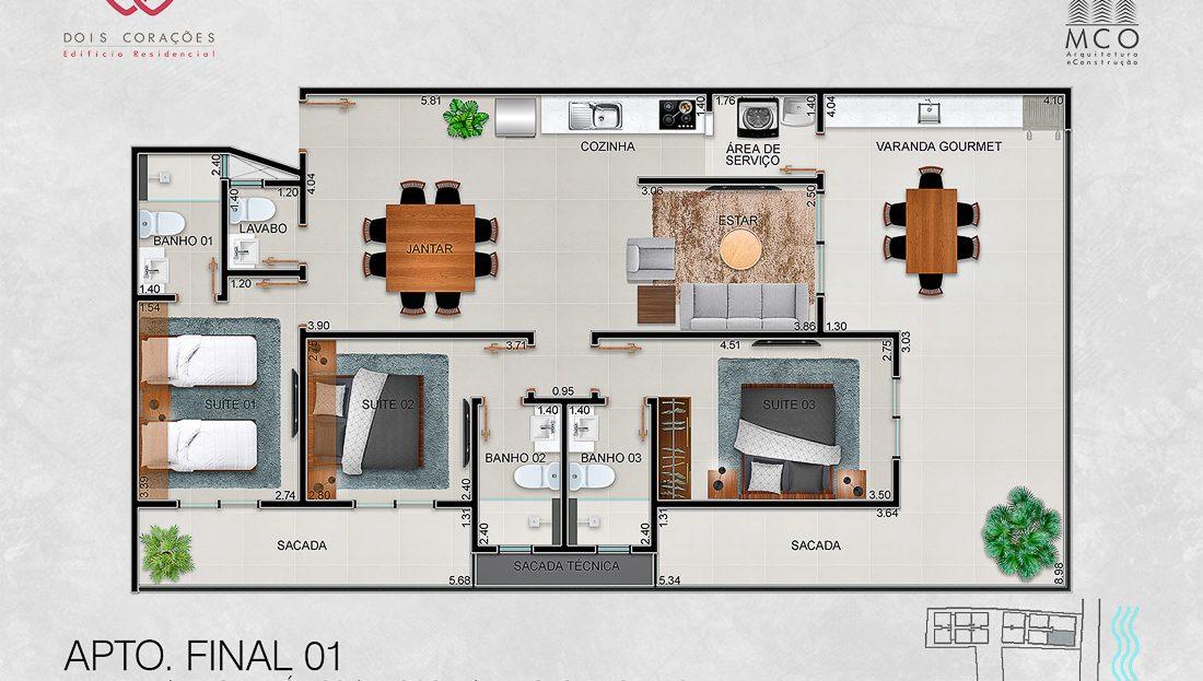 apartamentos final 01 - Lancamento Dois Corações em Ubatuba apresentado pela Imobiliaria Villa Tenorio