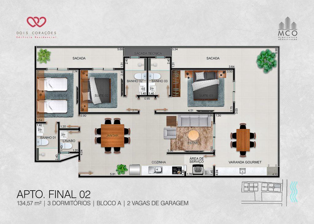 apartamentos final 02 - Lancamento Dois Corações em Ubatuba apresentado pela Imobiliaria Villa Tenorio