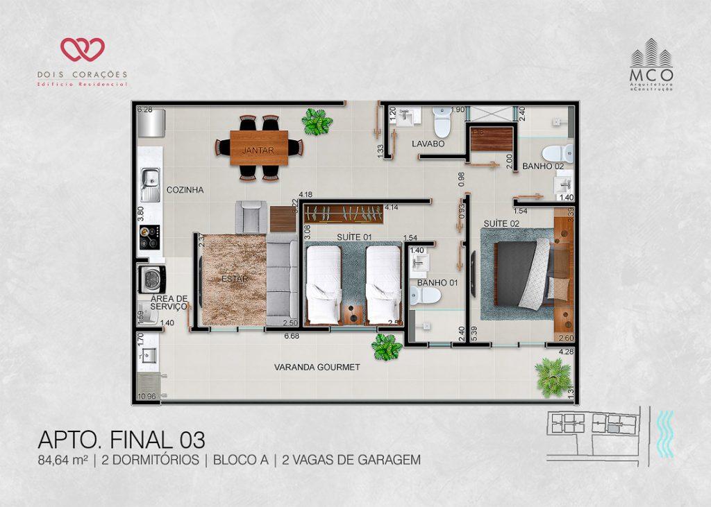 apartamentos final 03 - Lancamento Dois Corações em Ubatuba apresentado pela Imobiliaria Villa Tenorio