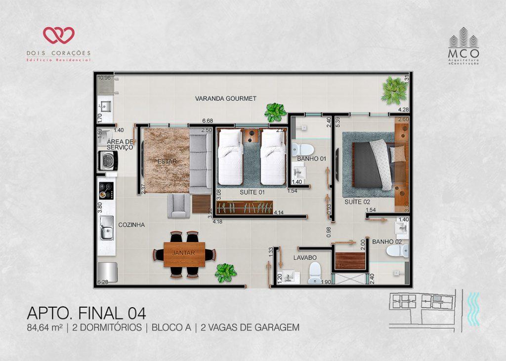 apartamentos final 04 - Lancamento Dois Corações em Ubatuba apresentado pela Imobiliaria Villa Tenorio