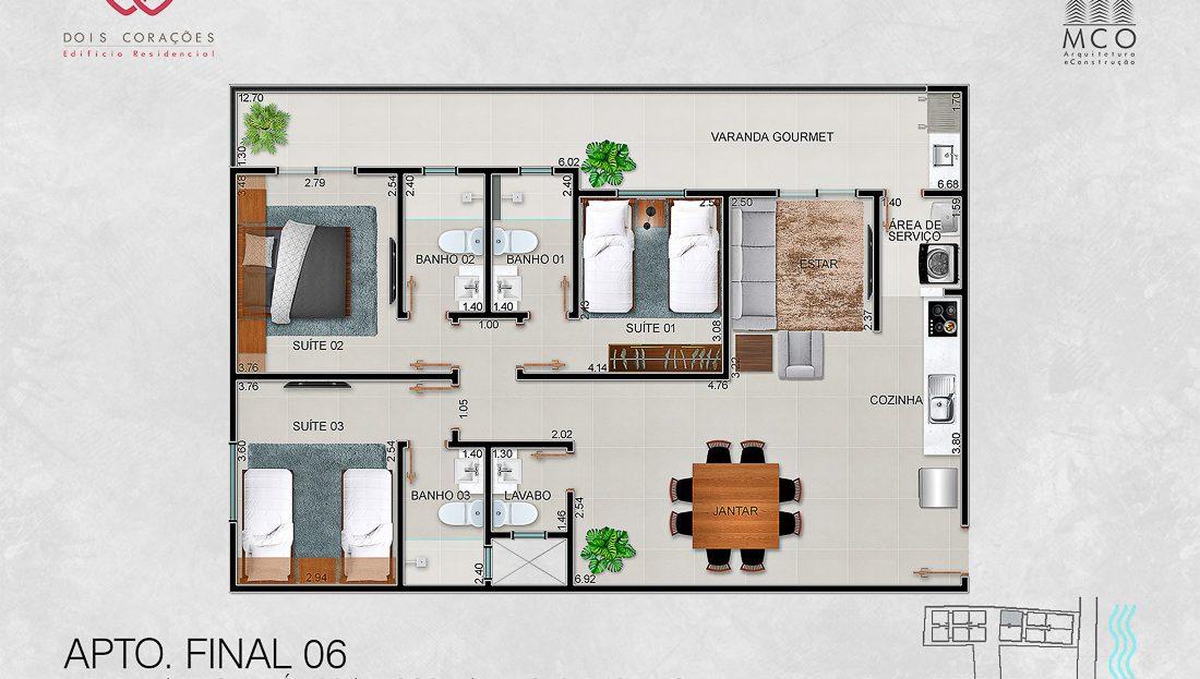 apartamentos final 06 - Lancamento Dois Corações em Ubatuba apresentado pela Imobiliaria Villa Tenorio