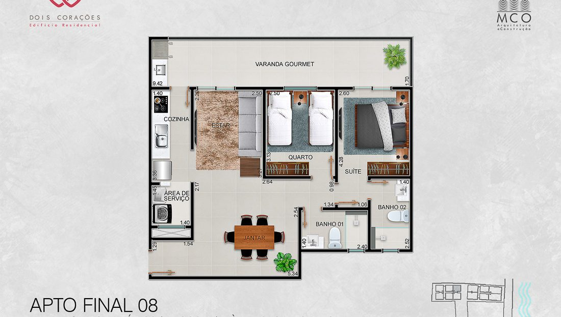 apartamentos final 08 - Lancamento Dois Corações em Ubatuba apresentado pela Imobiliaria Villa Tenorio