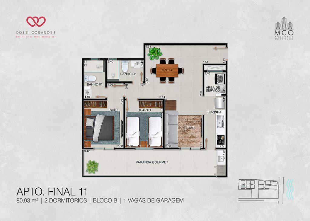 apartamentos final 11 - Lancamento Dois Corações em Ubatuba apresentado pela Imobiliaria Villa Tenorio