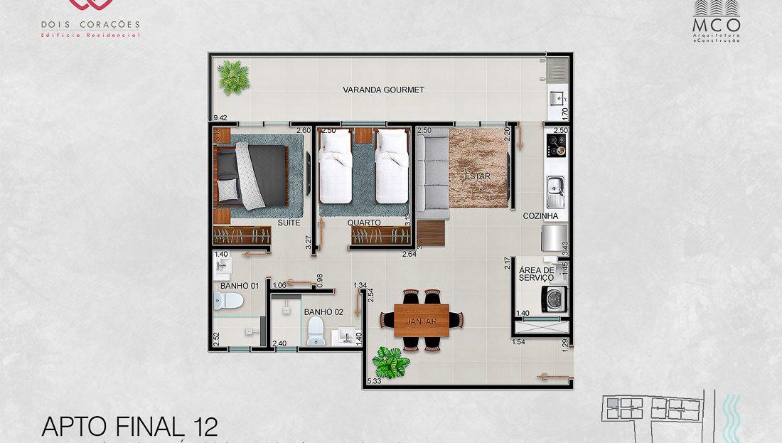 apartamentos final 12 - Lancamento Dois Corações em Ubatuba apresentado pela Imobiliaria Villa Tenorio