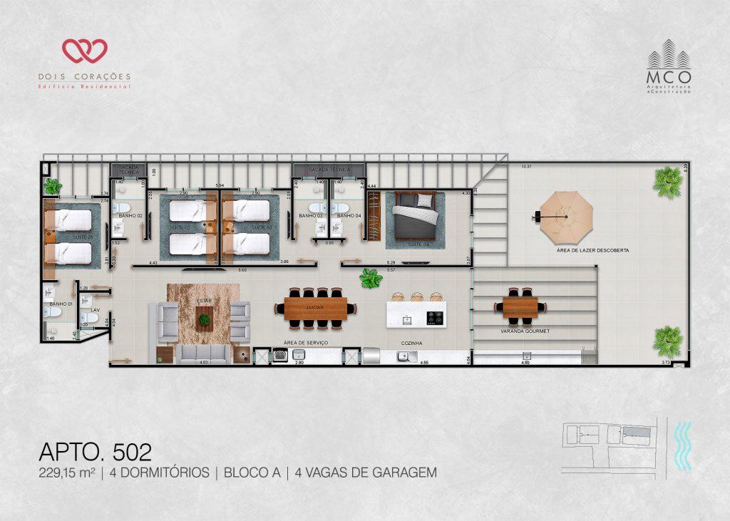 Bloco A - Apto 502 - Lancamento Dois Corações em Ubatuba apresentado pela Imobiliaria Villa Tenorio