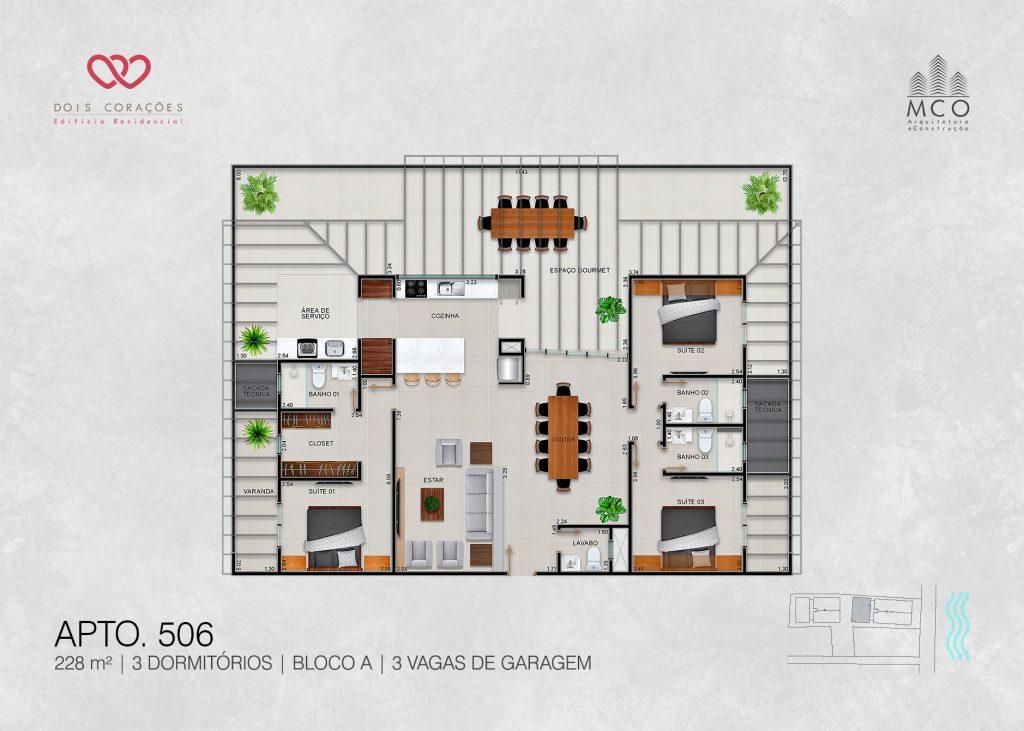 Bloco A - Apto 506 - Lancamento Dois Corações em Ubatuba apresentado pela Imobiliaria Villa Tenorio