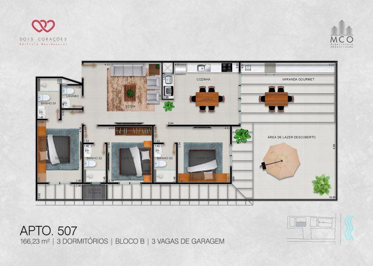Bloco B - Cobertura 507 - Lancamento Dois Corações em Ubatuba apresentado pela Imobiliaria Villa Tenorio