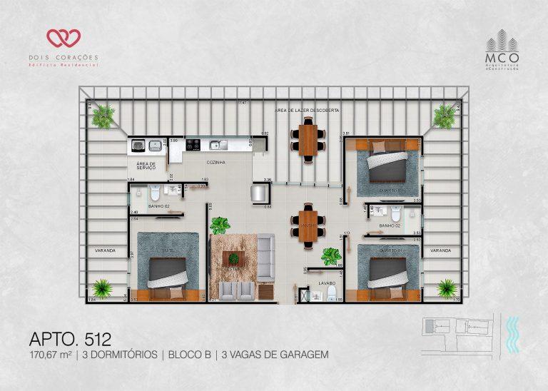 Bloco B - Cobertura 512 - Lancamento Dois Corações em Ubatuba apresentado pela Imobiliaria Villa Tenorio