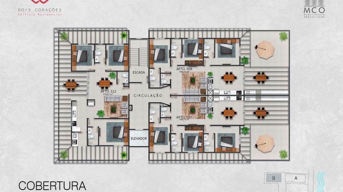 Bloco B - Cobertura - Lancamento Dois Corações em Ubatuba apresentado pela Imobiliaria Villa Tenorio