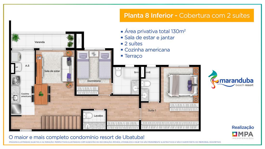 Planta 8 inferior - Lancamento Praia da Maranduba Ubatuba - apresentado pela Imobiliaria Villa Tenorio