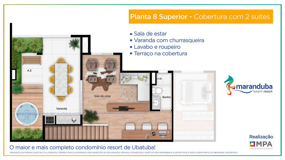 Planta 8 superior - Lancamento Praia da Maranduba Ubatuba - apresentado pela Imobiliaria Villa Tenorio
