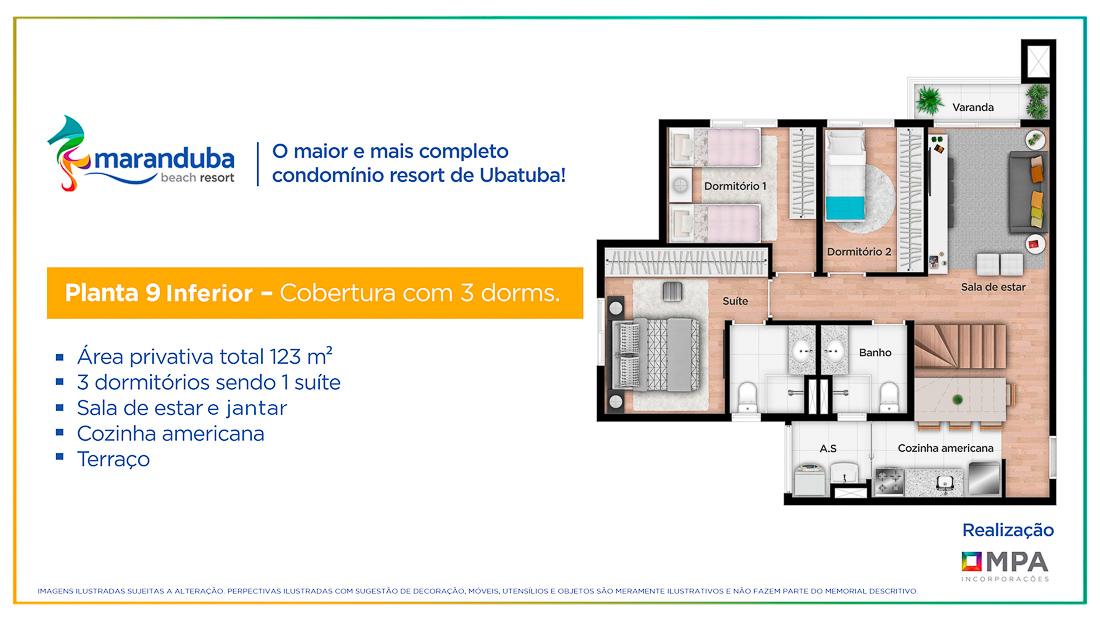 Planta 9 inferior - 3 dorm- Lancamento Praia da Maranduba Ubatuba - apresentado pela Imobiliaria Villa Tenorio
