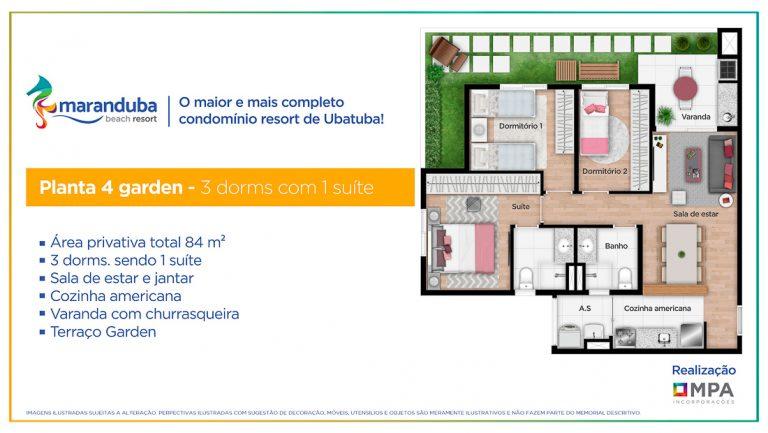 Planta 4 Garden 3 dorm- Lancamento Praia da Maranduba Ubatuba - apresentado pela Imobiliaria Villa Tenorio