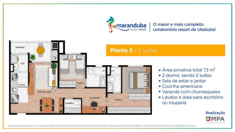 Planta 5 Garden- Lancamento Praia da Maranduba Ubatuba - apresentado pela Imobiliaria Villa Tenorio