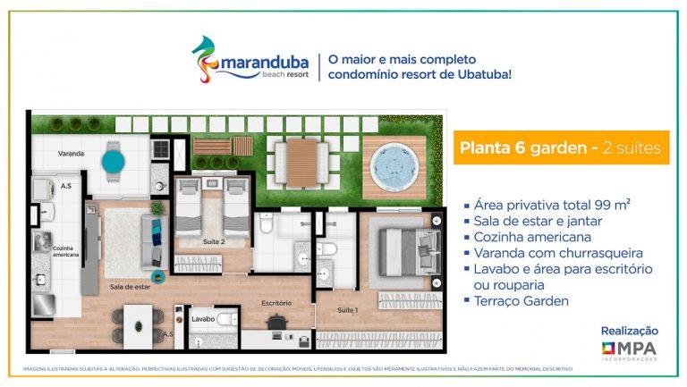 Planta 6 Garden- Lancamento Praia da Maranduba Ubatuba - apresentado pela Imobiliaria Villa Tenorio