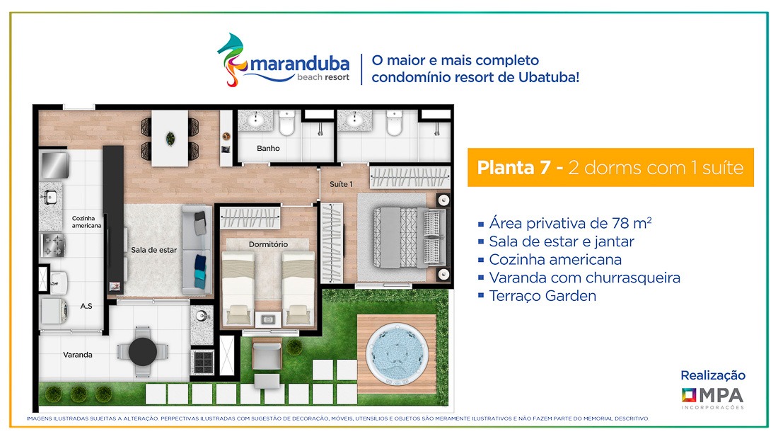 Planta final 7- Lancamento Praia da Maranduba Ubatuba - apresentado pela Imobiliaria Villa Tenorio