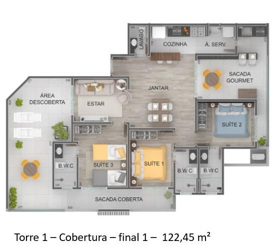 Torre 1 - Cobertura - Final 1 - Lançamento Praia do Itagua Ubatuba - Villa Belagio apresentado pela Imobiliaria Villa Tenorio