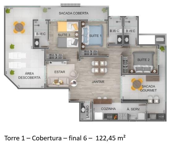 Torre 1 - Cobertura - Final 6 - Lançamento Praia do Itagua Ubatuba - Villa Bellagio apresentado pela Imobiliaria Villa Tenorio