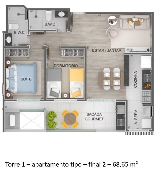 Torre 1 - apartamento tipo - final 2 Lançamento Praia do Itaguá Ubatuba - Villa Bellagio apresentado pela Imobiliaria Villa Tenorio
