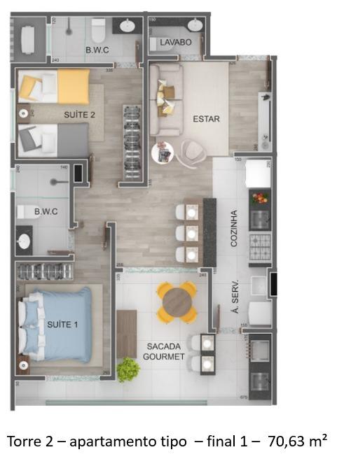 Torre 2 - apartamento tipo - final 1 - Lançamento Praia do Itagua Ubatuba - Villa Bellagio apresentado pela Imobiliaria Villa Tenorio