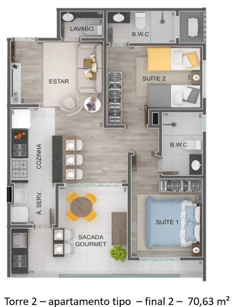 Torre 2 - apartamento tipo - final 2 - Lançamento Praia do Itagua Ubatuba - Villa Bellagio apresentado pela Imobiliaria Villa Tenorio