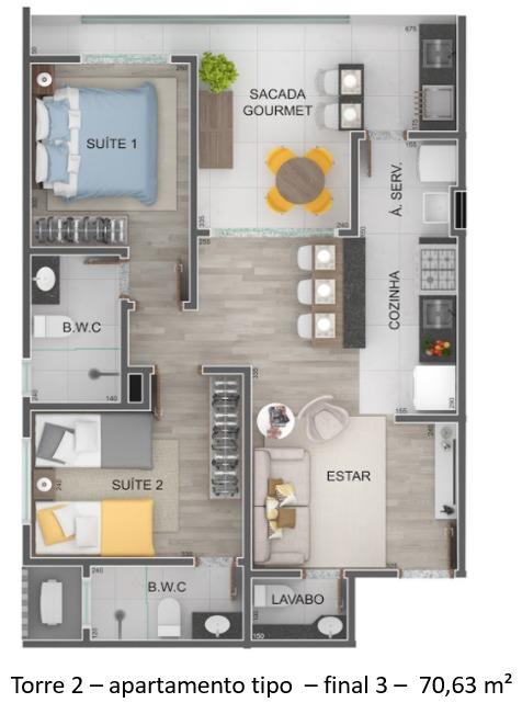 Torre 2 - apartamento tipo - final 3 - Lançamento Praia do Itagua Ubatuba - Villa Bellagio apresentado pela Imobiliaria Villa Tenorio