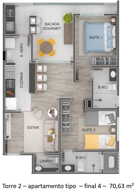 Torre 2 - apartamento tipo - final 4 - Lançamento Praia do Itagua Ubatuba - Villa Bellagio apresentado pela Imobiliaria Villa Tenorio
