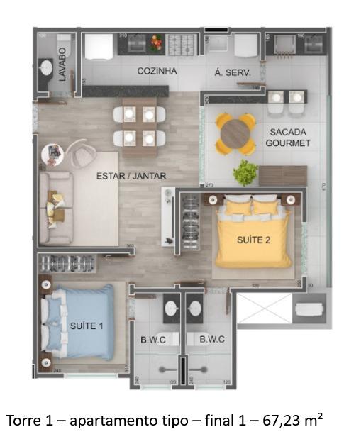 Torre 1 - apartamento tipo - final 1 - Lançamento Praia do Itagua Ubatuba - Villa Bellagio apresentado pela Imobiliaria Villa Tenorio