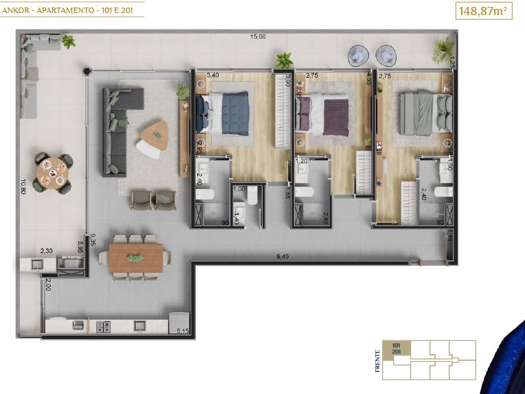 apartamento 101 e 201_Plantas_imagens ilustrativas_Lancamento em Ubatuba - Alto Padrão - Ankor na Praia do Itagua