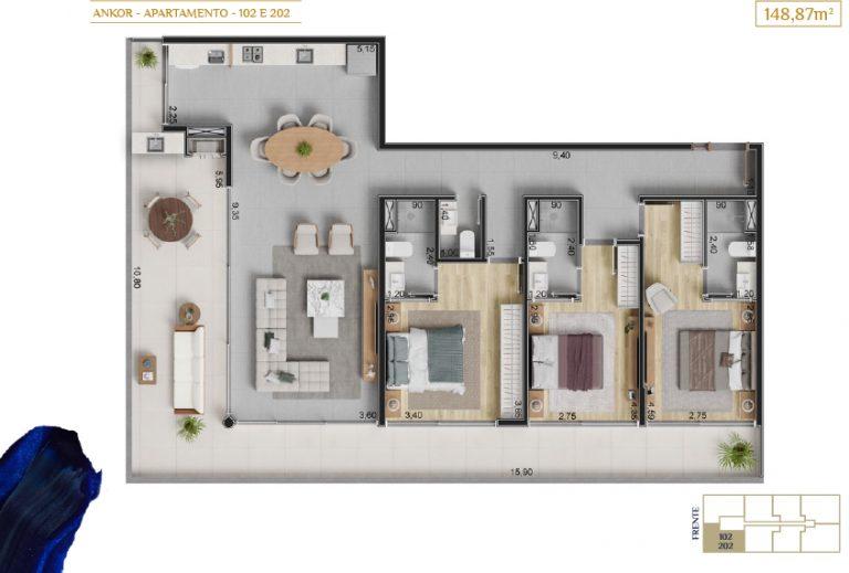 apartamento 102 e 202_Plantas_imagens ilustrativas_Lancamento em Ubatuba - Alto Padrão - Ankor na Praia do Itagua