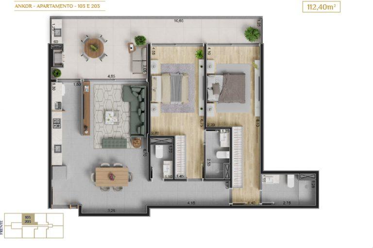 apartamento 103 e 203_Plantas_imagens ilustrativas_Lancamento em Ubatuba - Alto Padrão - Ankor na Praia do Itagua