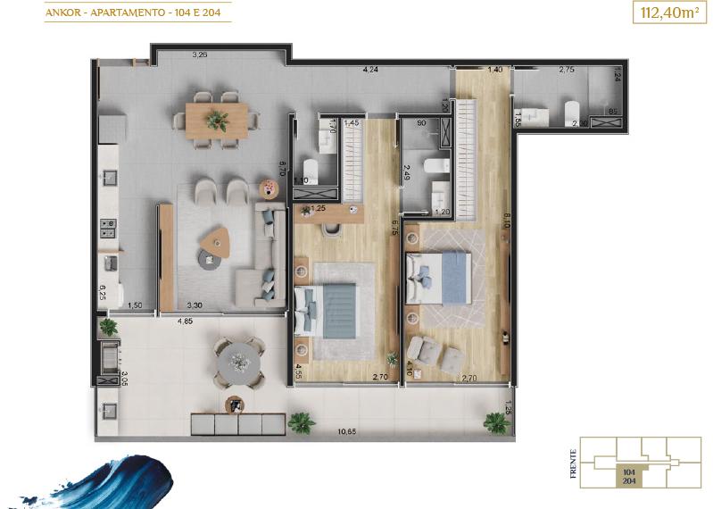 apartamento 104 e 204_Plantas_imagens ilustrativas_Lancamento em Ubatuba - Alto Padrão - Ankor na Praia do Itagua