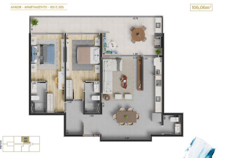 apartamento 105 e 205_Plantas_imagens ilustrativas_Lancamento em Ubatuba - Alto Padrão - Ankor na Praia do Itagua