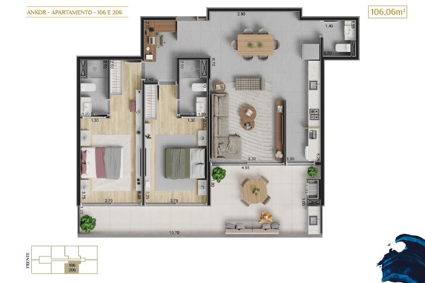 apartamento 106 e 206_Plantas_imagens ilustrativas_Lancamento em Ubatuba - Alto Padrão - Ankor na Praia do Itagua