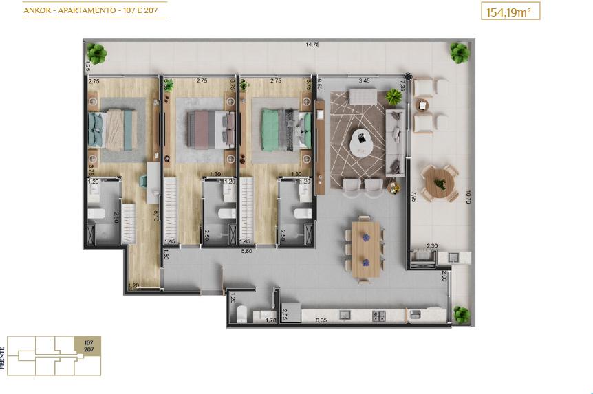 apartamento 107 e 207-Plantas_imagens ilustrativas_Lancamento em Ubatuba - Alto Padrão - Ankor na Praia do Itagua