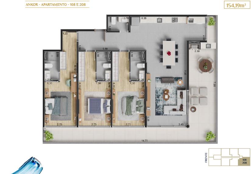apartamento 108 e 208_Plantas_imagens ilustrativas_Lancamento em Ubatuba - Alto Padrão - Ankor na Praia do Itagua