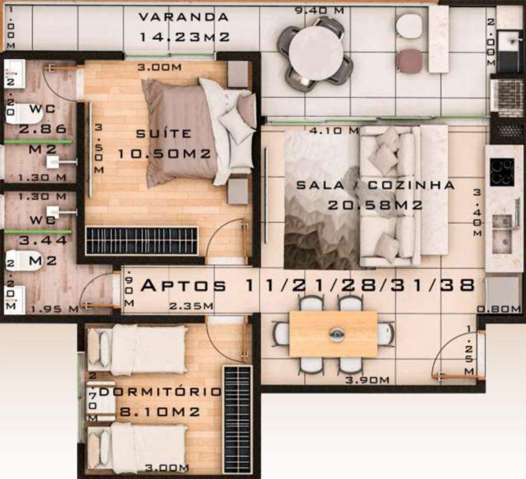 planta 2 quartos - Lancamento Pereque Açu em Ubatuba - Edificio Saboia