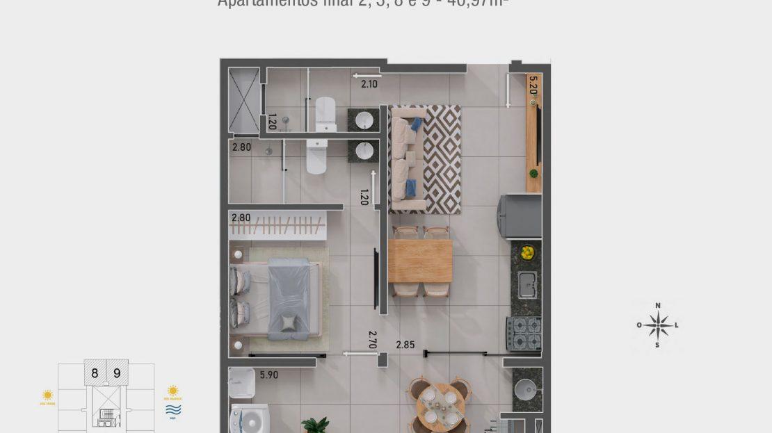 Apt 2, 3, 8 e 9 - Apartamento na planta em Ubatuba para vender