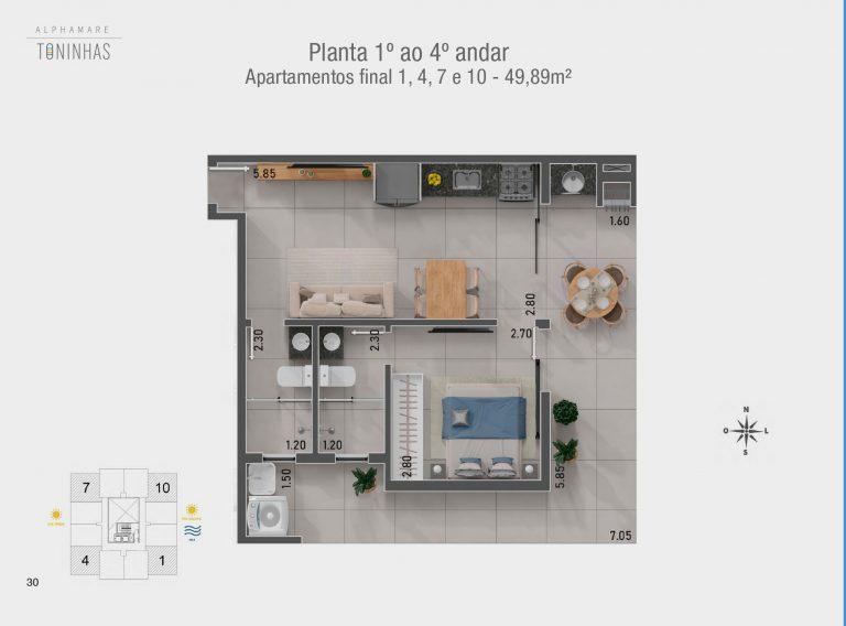 Plantas 1, 4 , 7 10 - Apartamento na planta em Ubatuba para vender - Alphamare Praias das Toninhas