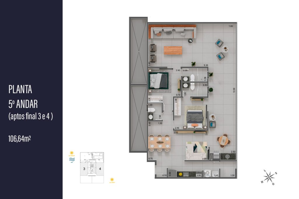 Planta da Cobertura final 3 e 4 com 106,64 m2- apartamento na planta para vender em Ubatuba