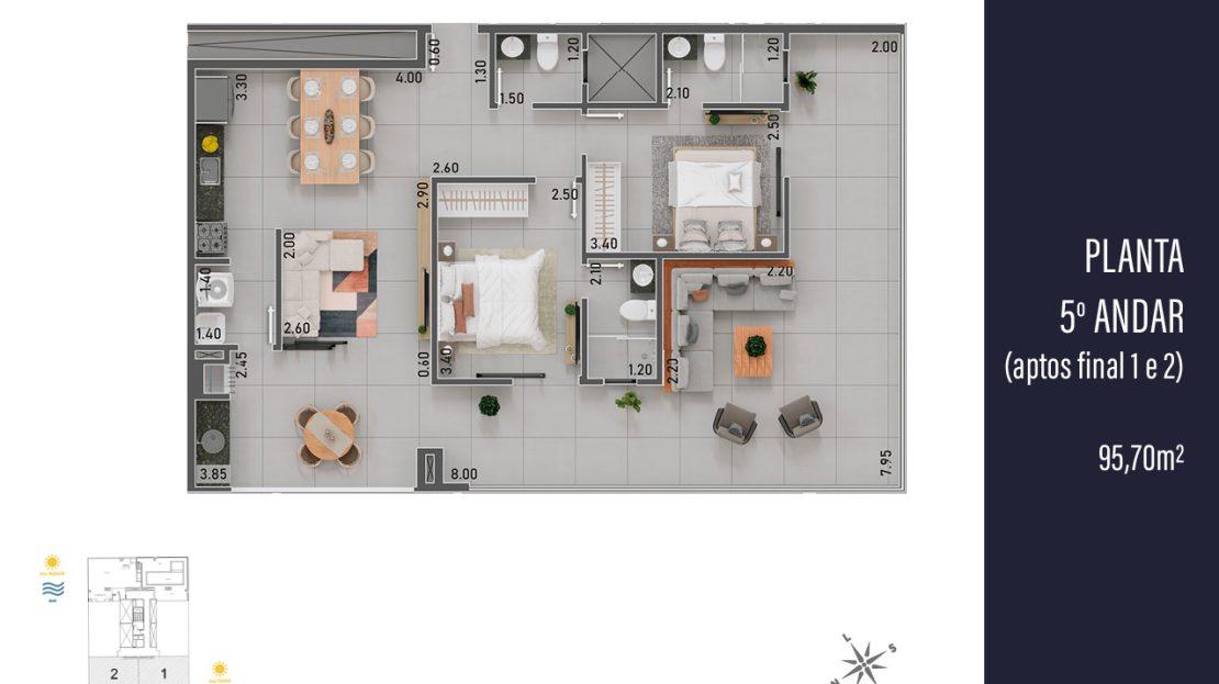 Planta da Cobertura final 1 e 2 - apartamento na planta para vender em Ubatuba
