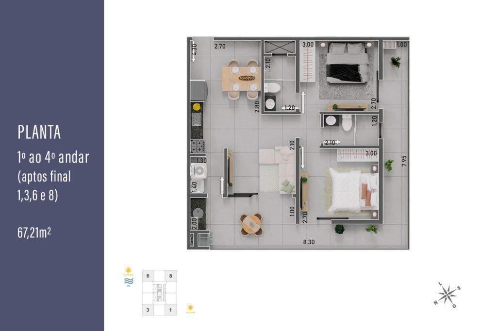 planta final 1, 3, 6 e 8 - apartamentos na planta para vender em Ubatuba na praia do Itaguá