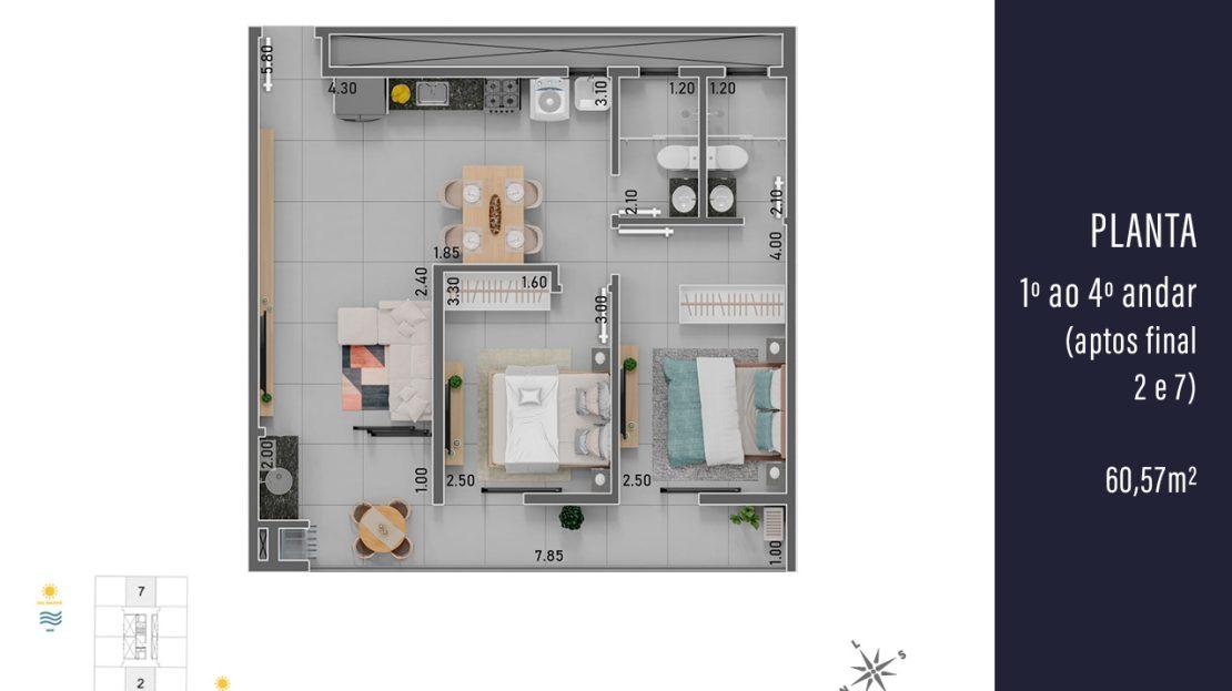 Plantas dos 1º ao 4º andar com apartamentos de 60,57 m² - final 2 e 7.