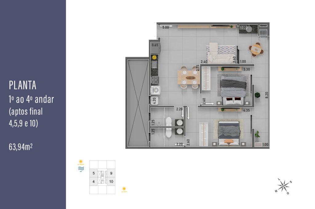 Plantas dos 1º ao 4º andar com apartamentos de 63,94 m² - final 4, 5, 9, 10